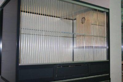 parkietenkooi b104xd60xh75cm in antraciet aluminium en wit/antraciet acp