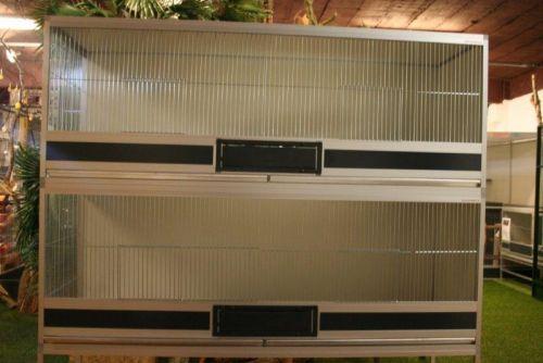 kooien in brut x alu  B170X D50 X H62CM met 2 vaks voederplateau ,zware fronten & 2 aluminium la