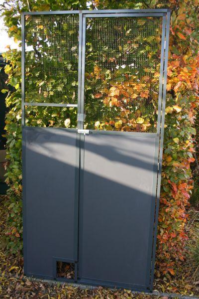 deurpaneel in antraciet 102x200cm met zwart gaas 12,7x12,7mm