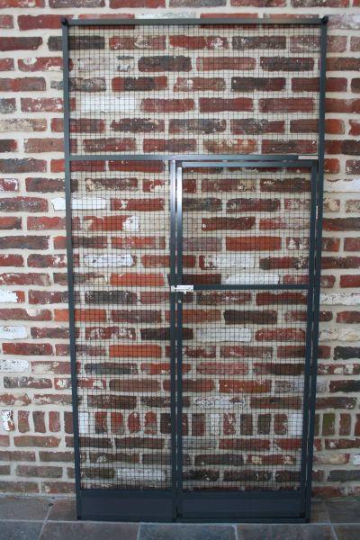 deurpaneel in antraciet 102x200cm met  zwarte draad 19x19x1,45